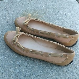 Talbots leather canvas tan loafers flats 9M